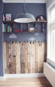 Make a city skyline out of reclaimed planks of wood. Ideal for a playroom.
