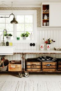 Crates as storage boxes. Lovely!