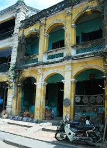French architecture in Hoi An, a beautifully preserved town in Vietnam.