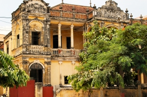 Side view of the villa in Phnom Penh that was destroyed.