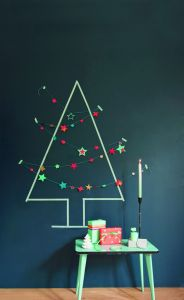 Create a Christmas tree from washi tape. Decorate with paper garlands or bunting.