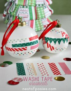 Get the kids involved and decorate plain baubles with washi tape.