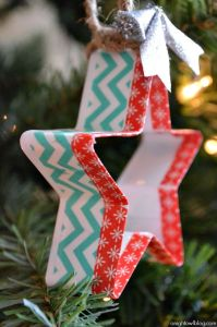 Oh I do love this! Turn your festive cookie cutters into gorgeous tree decorations by covering them with washi tape!