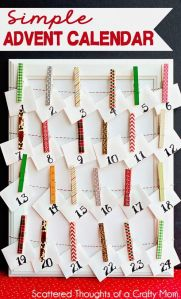 Cover wooden pegs with washi tape, and clip a paper bag filled with goodies to each. A simple and effective advent calendar.