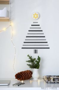 Graphic washi tape, pine cones and sprigs of a Christmas tree are a winning combination. Just add twinkle lights!
